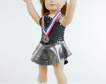 "Doll Ice Skating Medal - Red White & Blue for American Girl and other 18"" Dolls"