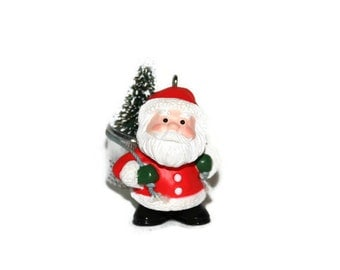 Hallmark Ornament - 1985 - Thimble Santa - Vintage Ornament - Stocking Stuffer - eighth in the thimble series-Collectible-Original Box -1985