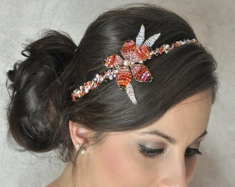 Flower headband tones grapefruit pink, totally made by hand
