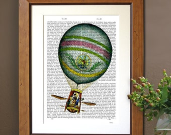 Light Blue Vintage Hot Air Balloon Print, Upcycled Dictionary Print, blue home decor wall art wall decor wall hanging, book page art