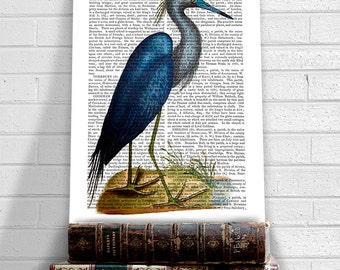Blue Heron Print 2, bird illustration bird print, heron painting heron art country couple gift nature poster modern country décor Home décor