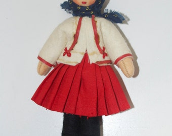 Cloth Felt Rag Doll from Czechoslovakia 6""