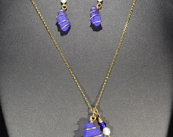 Rare Cobalt Blue Sea Glass Necklace and Earring Set, Gold Wire Wrapped (GF Set 001)