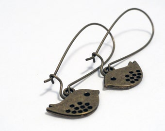 Brass bird earrings - bird earrings - bird charm earrings - antique brass bird - antique brass earrings - under 10 dollars - two birds