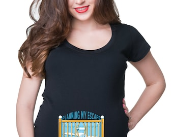 Planing My Escape T-Shirt Funny Maternity Tee Shirt Pregnant Woman