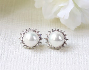 Silver Pearl and Diamond Earrings Pearl Bridal Earring Studs Pearl and Crystal Jewelry Silver Bridal Pearl Stud Earrings Wedding Studs E210S