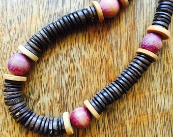 THE LUZEMA NECKLACE - Simple. bold. beautiful.unique.handmade.coconut shells.light pink.round wood pebbles.fashionable.trendy