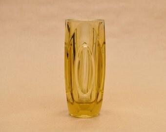 Large Bullet Vase or Lens Vase - Sklo union - yellow - design by Rudolf Schrötter - Czechoslovakian glass - Rosice