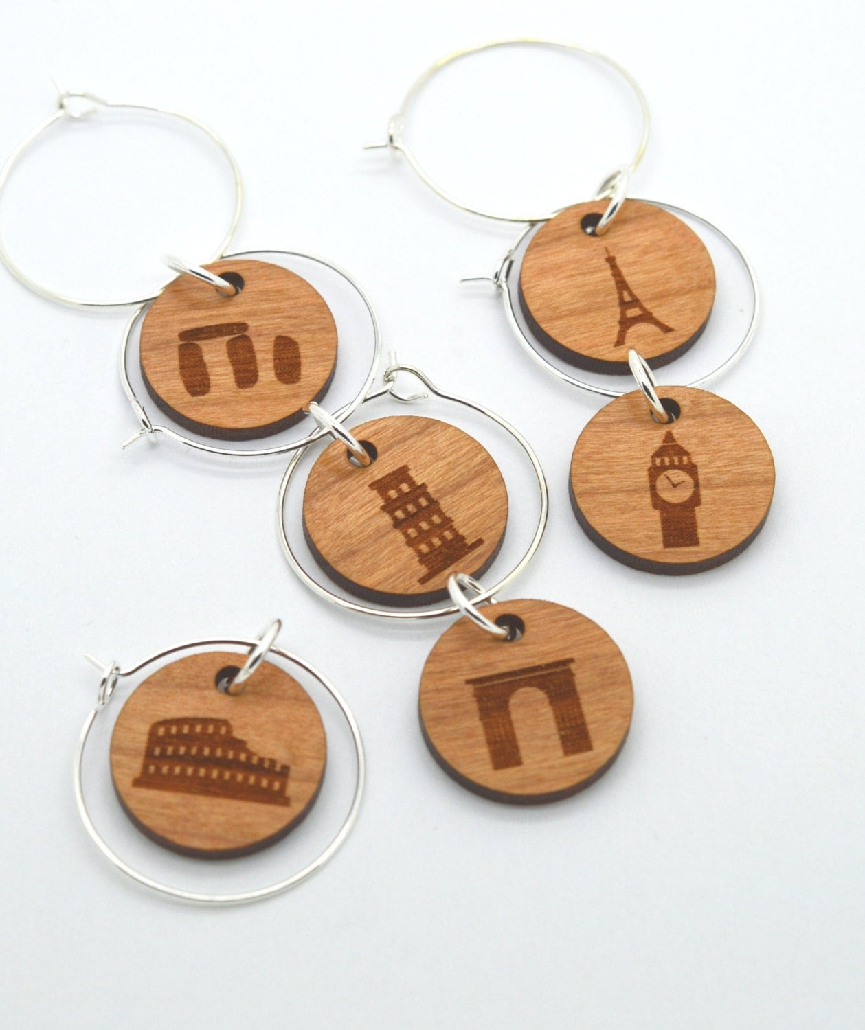 laser engraved wine glass charms world landmarks edition 2
