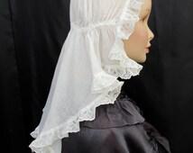 Rare Antique Victorian Governess cotton and lace cap vintage