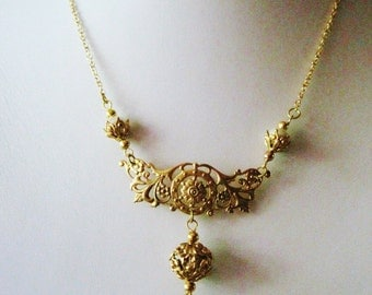 Art Nouveau necklace Edwardian necklace vintage style necklace with crystal and pearl pendant 1910 1920s