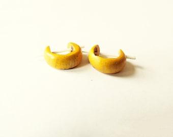 Yellow Wooden  Earrings Tribal Jewelry