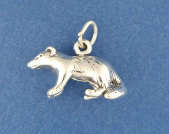 BADGER Charm .925 Sterling Silver