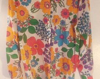 Vintage 70s Floral Disco Blouse S/M