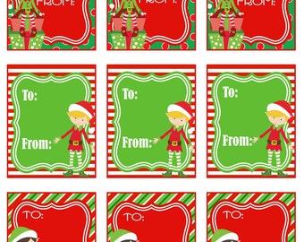 Elf Tags Christmas Tags Holiday Tags Elf Legs Tags Printable  |Christmas Elf Tag