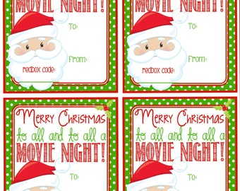 Redbox Gift Tag Movie Certificate To all a Movie Night Gift