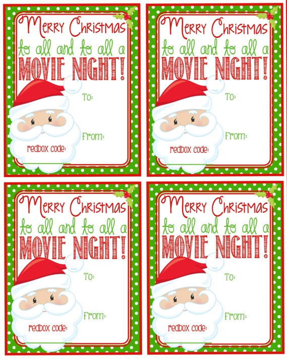 Printable Christmas Redbox Gift Tag Merry Christmas and to