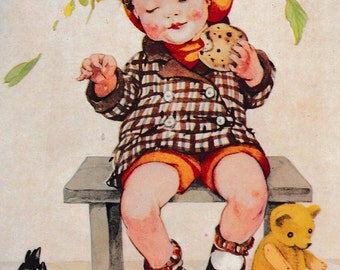 Children's 1950's print, book illustration of little red cheeked boy sharing currant bun with birds, matted for framing, 8 x 10 inches