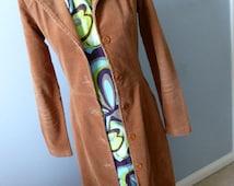 Boho Fashion Corduroy Long Shirt Dress -Small -Retro 70s Tan Cord Maxi Coat Dress -Fitted Duster Trench Coat Jacket Stretch Cord- USA Made