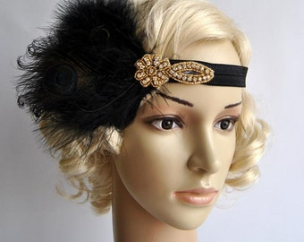 Gold Black Flapper Feather Headband,The Great Gatsby headpiece, Headband,Vintage Inspired,Feather, Art Deco headband