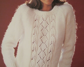 "Knit Pattern Book - Soft Sweatering - by Susan Bates #17744 - Size Range from Bust 30"" - 42"" - Vintage 1985"
