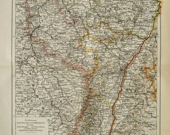 1900 Antique Map of ALSACE, FRANCE. Elsass. Strasbourg. 114 years old chart.