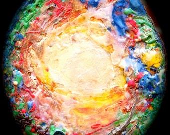 Earth-Glow encaustic painting on cedar wood round slice