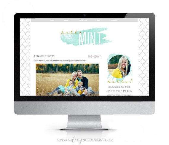 Premade Template Hello Mint 2 Column By Missaudreysuedesigns
