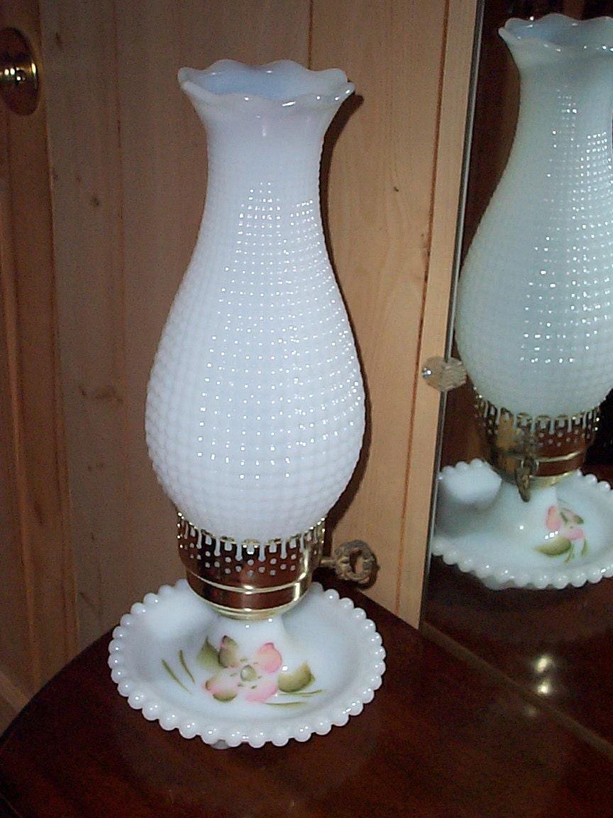 Vintage White Milk Glass Hobnail Lamp Corn Row Pattern Night