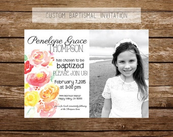 Custom LDS Baptism Photo Invitation!  printable invitation,-photo overlay 5x7 watercolor roses and flowers, pink, yellow, red, orange