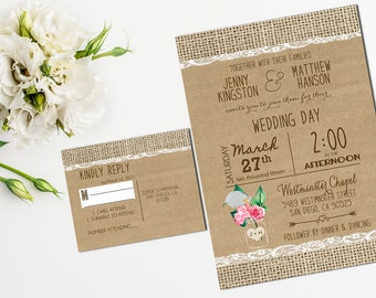 Printable Rustic Wedding Invitations Suite, Burlap and Lace Wedding Invitation _20