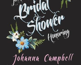 "Custom made bridal shower garland flower invitations 5x7"" (DIGITAL COPY)"