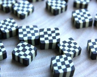 Polymer Clay Bead, 50pcs Fimo Beads, Black & White Square Fimo Bead, Polymer Clay Fimo Bead, Handmade Polymer Clay Bead, Polymer Clay Charm
