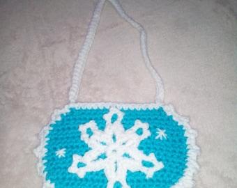 Snowflake Purse, Crocheted Aqua Purse, Princess Purse