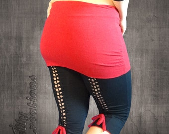 Yoga Capri Pants with Skirt / fitness capris, workout leggings, cropped yoga pant, 3/4 legging, cropped workout tights, yoga fitness