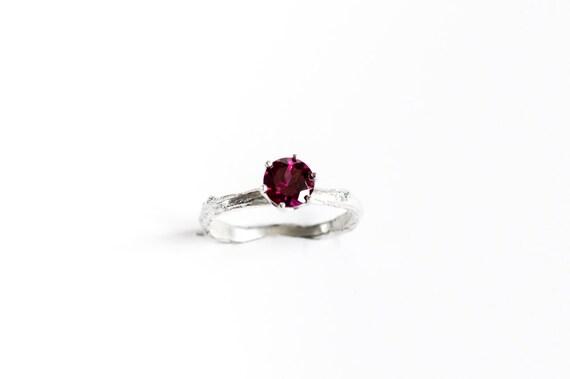 Rhodolite garnet sterling silver twig ring, branch engagement ring, alternative engagement ring, valentines day ring