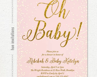 pink gold glitter baby shower invitation, oh baby invitation, sprinkle blush pink baby shower invite, printable digital invitation 220