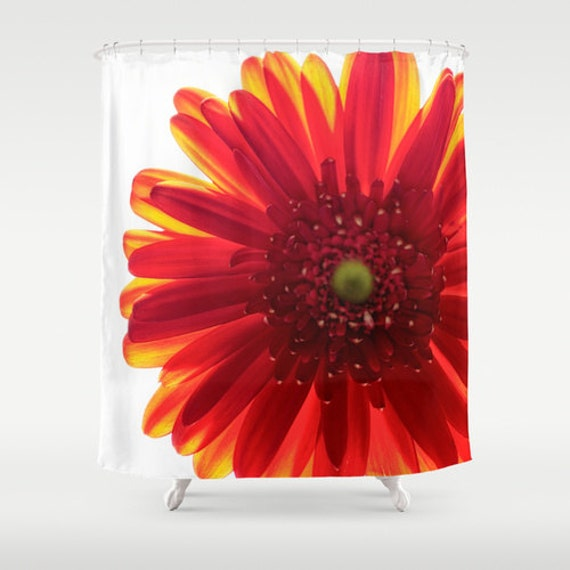 Items Similar To Shower Curtains Red And Yellow Bright Bathroom Bath Accessories Daisy