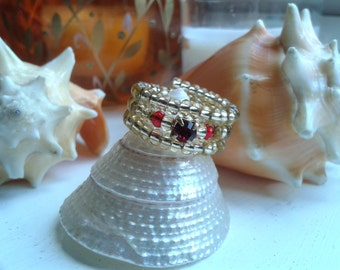 Gold and Red Crystal Adjustable Fashion Ring Size S/M US/Canada 6 UK L1/2