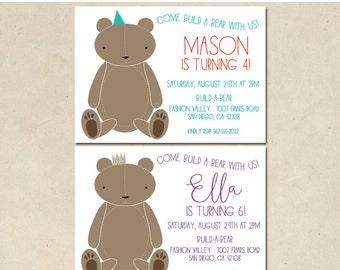 build a bear invitation - teddy bear party - baby shower invitation - slumber party - modern style simple - customized - DIY