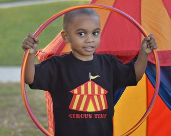 Boy's Circus Birthday Shirt with Big Tent and Embroidered 'Circus Time'