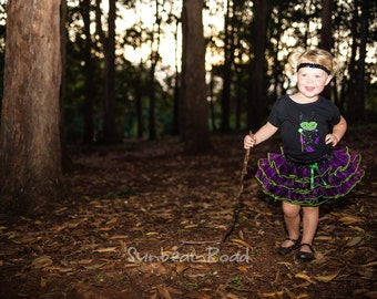 Girl Maleficent Outfit with Maleficent Shirt and Embroidered Name