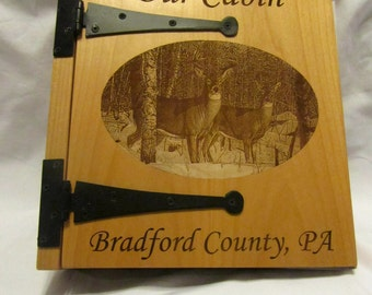 Personalized 3 Ring Photo Album - Custom Engraved Cabin