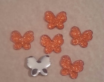 28mm Beautiful Orange Butterfly Embellishment Flatback - Orange - resin, plastic - 6 pieces