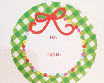 Garland Christmas Gift Sticker (Qty 24)