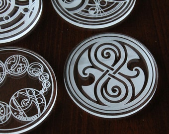 Gallifreyan Seals - Dr. Who Time Lord Coasters - Etched from Acrylic