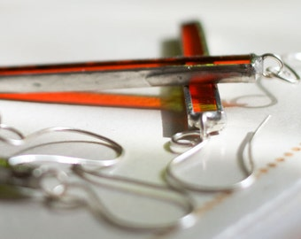 Orange Glass Matchstick Earrings