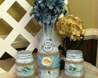 Vintage Jars - Vintage - Distressed Wedding Jars - Wedding Centerpiece - Rustic Mason Jars - Cottage Chic Jars - Decortive Mason Jars - Jars