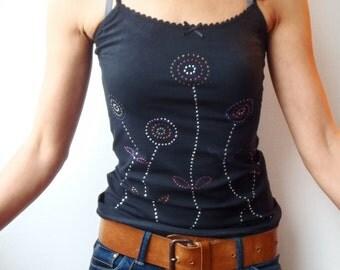 SALE!!! Dandelions T shirt, Black hand painted T shirt, Spaghetti straps T shirt, Cotton tank top, Unique hand painted T shirt, Dandelions