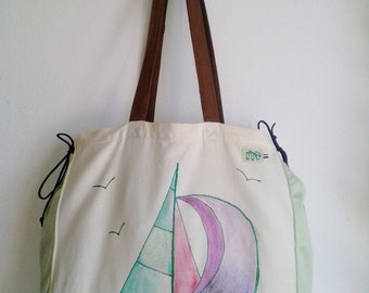 Sailing boat bag, sailboat bag, Yacht bag, hand painted finest damask bag, nautical bag, Unique Item
